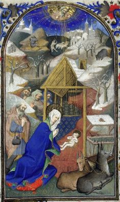 Detail of a miniature of the Nativity from the Bedford Hours, Paris c. 1410.