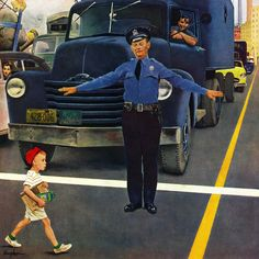 Traffic Cop by George Hughes Painting Print on Wrapped Canvas