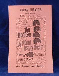 """Vintage Movie Handbill Ad Flyers for """"A Hard Day's Night"""", """"River of No Return"""", """"Let's Make Love"""", and """"Niagra"""" by InGrammasAttic on Etsy"""