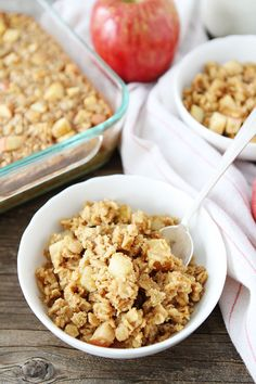 Baked Peanut Butter Apple Oatmeal Recipe on twopeasandtheirpod.com This easy baked oatmeal is a favorite at our house! It reheats well and is a great breakfast treat!
