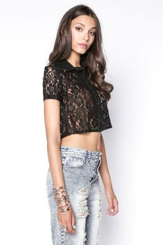 90s Lullaby - KASSIDY BLACK LACE BUTTON DOWN, $14.90 (http://www.90slullaby.com/shop/crop-tops-now/kassidy-black-lace-button-down/)