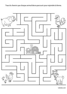 Espace : trace le chemin que chaque animal devra parcourir pour rejoindre la ferme #coursanglaisgratuit Fun Worksheets For Kids, Mazes For Kids, Printable Preschool Worksheets, Tracing Worksheets, Kindergarten Worksheets, Pen And Paper Games, Maze Worksheet, Community Helpers Preschool, Farm Unit