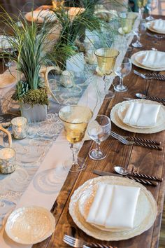 Misty Blue Palazzo Standard Runner over Almond Dupioni Wide Runner and Ivory Lamour Napkins on a rustic wood farm table by Seasons by David