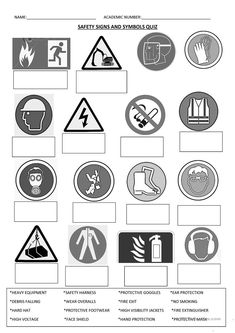 The worksheet contains pictures of safety signs in a construction site or in a shop. The student has to match the pictures with the words in a word bank below. Kindergarten Math Worksheets, Teacher Worksheets, Free Printable Worksheets, Free Printable Coloring Pages, Printable Quotes, Worksheets For Kids, Free Printables, Safety Signs And Symbols, Cursive Writing Worksheets