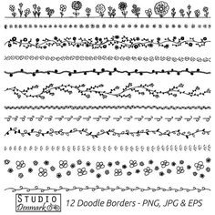 Floral Doodle Borders Clipart Set - Commercial Use - 12 Flower Doodle Vector Clip Art - png, jpg & eps - Instant Download