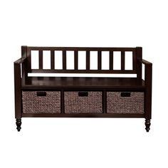 $259.99 The Bradwick Entryway Bench is a transitional styled piece with traditional elements and is functional, attractive and comfortable. This durable bench is wide enough to comfortably seat 2 people and has under seat basket storage to effectively organize your entryway. The casual look of this bench fits easily into all homes and adds a touch of style in your entryway.