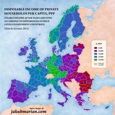 Disposable income of private households in Europe, per capita, PPP.