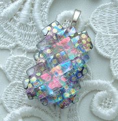 Dichroic Glass Pendant  Dichroic Glass by GalaxyGlassStudio,