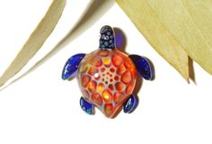 Sweet Honeycomb Turtle - Glass Turtle Necklace Pendant by CreativeFlowGlass at www.glassnecklacependants.com