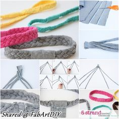 How to DIY 5 Strand Headband from Old Tshirts | www.FabArtDIY.com