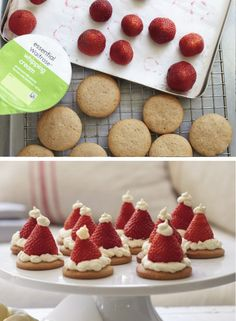 Children will love making these sweet santa hats - they're simple to make and look adorable. You could always save time by using pre-bought biscuits or shortbread.