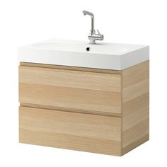 """GODMORGON / BRÅVIKEN Sink cabinet with 2 drawers - white stained oak effect, 31 1/2x19 1/4x26 3/4 """" - IKEA"""