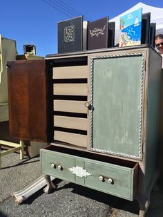 Beautiful cabinet with concealed sliding shelves and a drawer for sale by Shabby Restore (www.shabbyrestore.com) seen today at the Treasure Island Flea in San Francisco. #shabby #restore