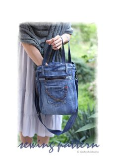 Sewing Denim Bag PATTERN DIY Denim Bag Make your por GAMMAstudio Más