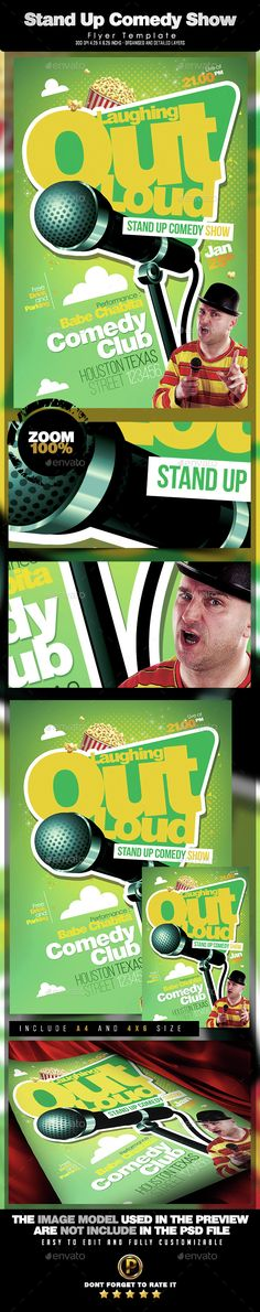 Stand Up Comedy Flyer Template | Flyer Template, Party Poster And