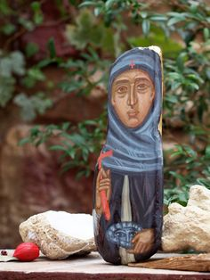 St Paraskevi painted sculpture in driftwood