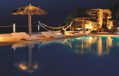 Our pool by night! The perfect way to relax and stargaze!  #pool #kivotos #hotel