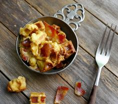 Maple Bacon Waffle Bread Pudding perfect for dessert