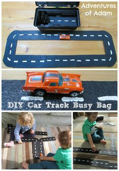 We are excited to be joining 9 other Kid Network Bloggers in The Busy Bag Blog Hop. For the activity we have created the DIY Car Track Busy Bag. As my blog