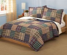 Quilt set includes 1 full / queen quilt, 86 x 86 inches and 2 standard shams, inches. Face cloth is cotton. Features Full / Queen Quilt with 2 Shams Machine washable Face cloth is cotton. Plaid Bedding, Plaid Quilt, Quilt Bedding, Plaid Flannel, Red Plaid, Teen Boy Bedding, Boys Bedding Sets, Colchas Country, Country Charm