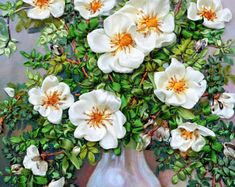 """Embroidered picture """"White flowers joy"""" """", Silk ribbon embroidery, 3D effect, ribbon work, ribbon, embroidered picture, ribbon flowers"""