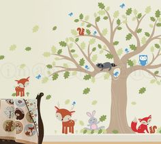forest friends large oak tree | Forest Friends Large Oak Tree Wall Decal for a Woodland Nursery with ...