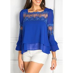 Rotita Layered Patchwork Flare Sleeve Royal Blue Blouse ($26) ❤ liked on Polyvore featuring tops, blouses, blue, layered blouse, royal blue top, 3/4 length sleeve blouse, blue chiffon blouse and royal blue chiffon blouse