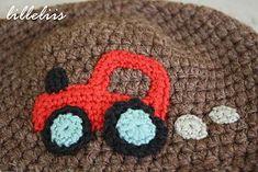 boy crochet applique   Tractor crochet applique for the boys hat