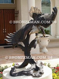 """""""With the Wind"""" Outdoor Bronze Eagle Statue. This 5 ft. tall masterpiece captures grace and strength. All will marvel at this work of art at your home or office. Also see """"Against the Wind"""" a stunning masterpiece going the other direction. Call me today at (877) 528-2531."""