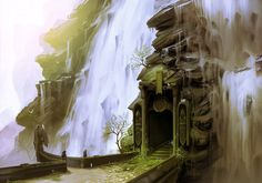Waterfall Doorway - a digital painting by Daniel Conway (2015)