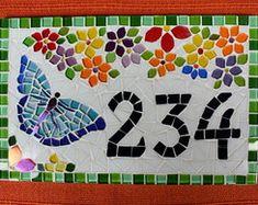 Número para Casa em mosaico Borboleta