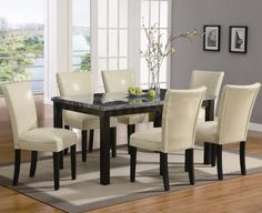 Dining Room Wonderful White Cushions For Upholstered Dining Room Chairs With Black Dining Table Marble Countertop Above Laminate Wood Floor Around Grey Wall White Windows Advantages of Upholstered Dining Room Chairs