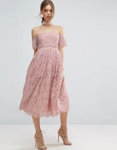 Asos Off the Shoulder Lace Prom Midi Dress $119  theres a couple other listings similar for diff shades... http://us.asos.com/asos/asos-off-the-shoulder-lace-prom-midi-dress/prd/7506196?clr=nude&SearchQuery=&cid=8799&pgesize=36&pge=75&totalstyles=3785&gridsize=4&gridrow=9&gridcolumn=3