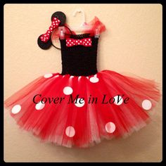 Red black and white Minnie Mouse tutu dress SET by CoverMeInLoVe, $39.00