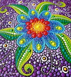 Wild flower by Val Campagna Dot Art Painting, Rock Painting Designs, Painting Patterns, Stone Painting, Mandala Painted Rocks, Mandala Rocks, Mandala Drawing, Mandala Painting, Dream Catcher Art