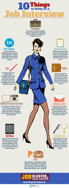 infographic infographic : 10 Things to Bring on Job Interview by JobCluster vi. Image Description infographic : 10 Things to Bring on Job Interview by The Interview, Interview Skills, Job Interview Questions, Job Interview Tips, Interview Preparation, Job Interviews, Interview Nerves, Job Resume, Resume Tips