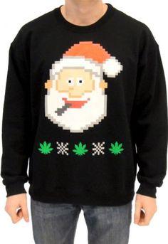 Ugly Christmas Marijuana Christmas Tree Sweatshirt   Cannabis ...