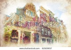 streets of Old Amsterdam made in artistic watercolor style - stock photo