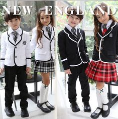 Retail British korean japanese school uniform kids clothes uniforme escolar children girls and boys clothing jacket skirt 5 sets