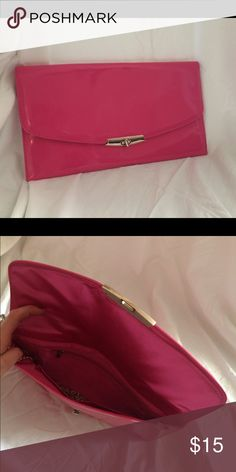 Hot Pink Clutch Skinny Hot Pink Clutch with chain Bags Clutches & Wristlets