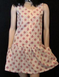 SALE DRESS 80s polka dot dress,drop waist dress, cotton, size small. $16.00, via Etsy.