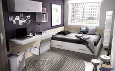 H501 #Habitacionessenior, para jóvenes que necesitan una cama de mayor tamaño. Camas que incorporan un baúl en su parte interior para aprovechar todos los espacios.