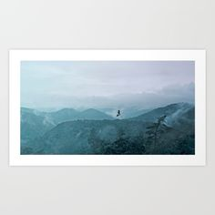 Blue smoky mountains by Pirmin Nohr A buzzard is circling over the mountains, while the water of the rain is rising up to the sky again.  Animal, nature, landscape, fauna,flora, mountains,trees, blue, clouds, steam, water vapor, aqueous vapor, blue, forest, sky, bird, raptor