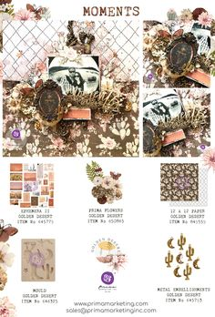 Wanderlust will hit you as you explore the new Golden Desert Collection. This collection is filled with inviting earth tones, southwest style, and trendy flare. Everything from the stylized papers, down to the cacti, will inspire you to explore new destinations. Click to check out our products and find a retailer near you! #primamarketinginc #createwithprima #PrimaMarketing #Prima #PrimaFlowers #scrapbook #mixedmedia #art #embellishment #flowers #Finnabair #Finnabairmixedmedia