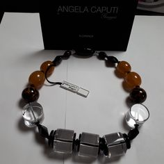 Angela Caputi necklace, amber & leopard colour, black and clear lucite, couture by ETCETERANTIK on Etsy Bee Party, Colour Black, Beautiful Necklaces, Fascinator, Amber, Jewelery, Drop Earrings, Trending Outfits, Beads