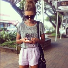 purple high waisted shorts with graphic tee