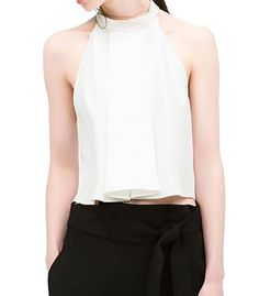 Blouse with American neck and draped detail Shirt Blouses, Shirts, Basic Tank Top, Detail, Tank Tops, American, Women, Fashion, Moda