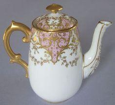 """Antique Limoges Hand Painted Porcelain Petite Tea Pot Or Demitasse Pot Marked """"Elite Limoges France"""""""