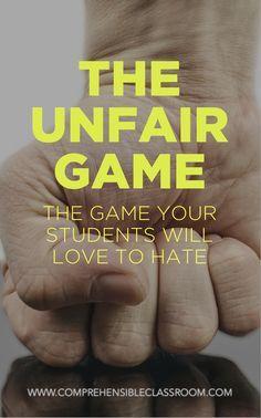 Classroom games - The Unfair Game Teaching Strategies, Teaching Tools, Teaching Resources, Teaching Art, Teaching Ideas, Teaching Class, Vocabulary Strategies, Critical Thinking Activities, Teaching Channel