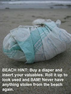 Saw on Facebook and, as usual, decided to pin it! Risky to share but I like the idea. Not just for the beach but for anywhere!!!